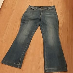Talbots ladies petite flare-leg jeans. Size 8P.